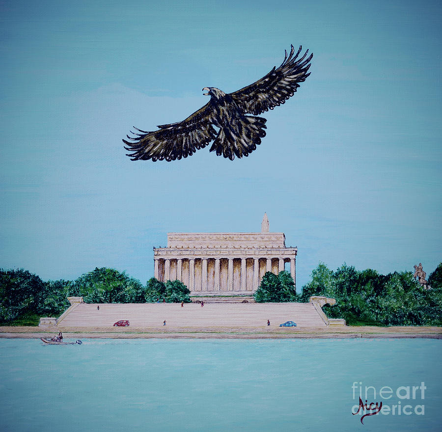 Golden Eagle Over Lincoln Memorial by Aicy Karbstein