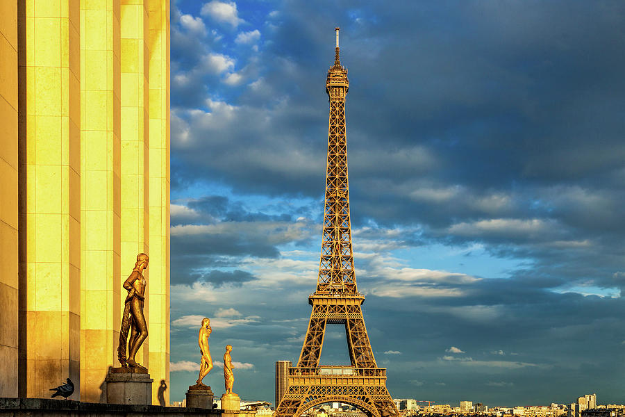 Paris Photograph - Golden Eiffel Tower by Andrew Soundarajan