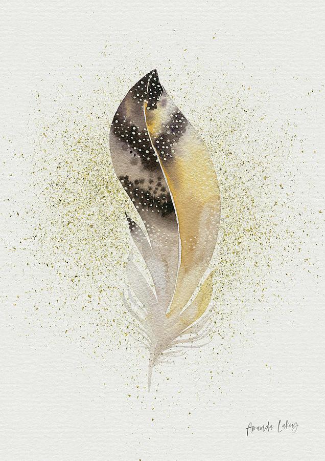 Neutral Mixed Media - Golden Feather I by Amanda Lakey