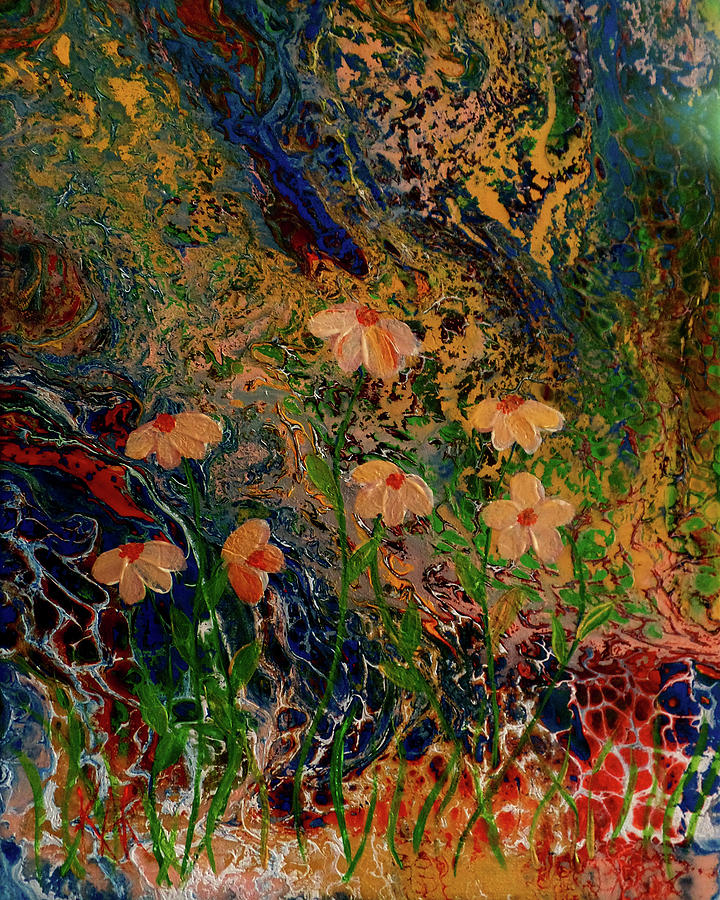Abstract Painting - Golden Flowers by Art by Kar