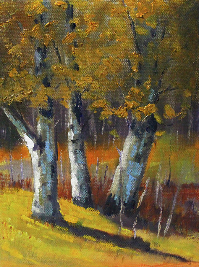 Golden Forest Landscape Painting by Nancy Merkle