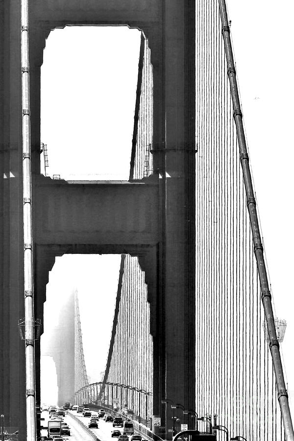 Golden Gate Abstract In B W Photograph