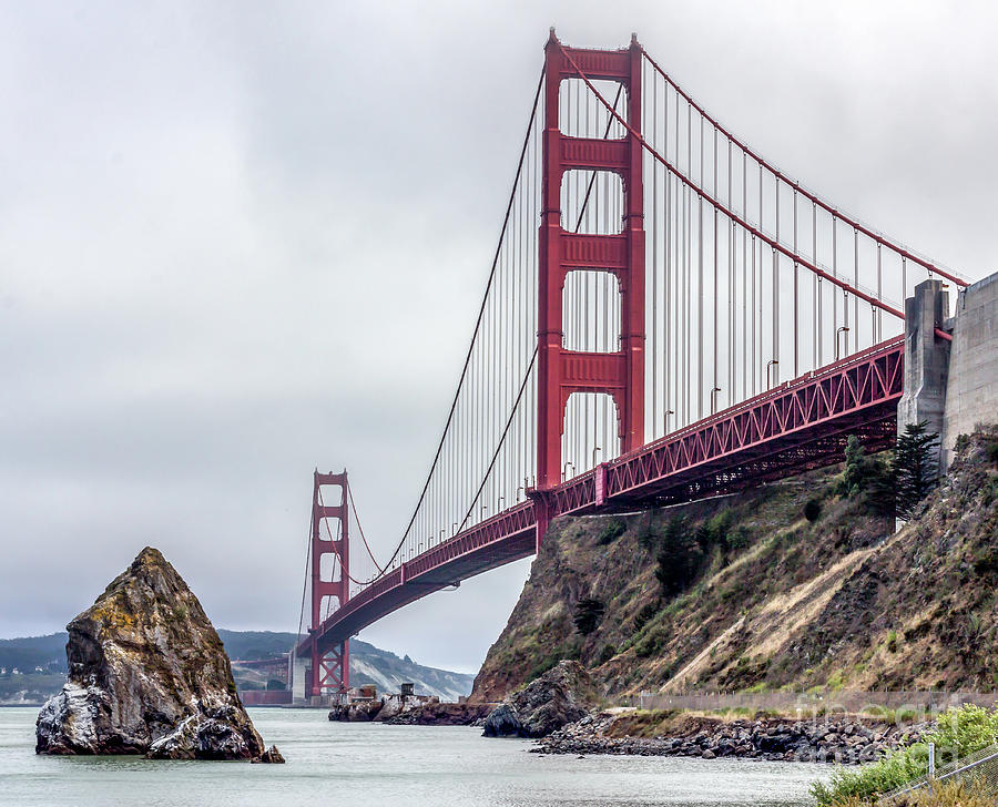Golden Gate Bridge Against Overcast Photograph by Wilfried Delcambre