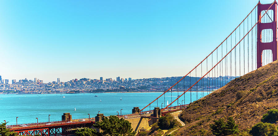 Golden Gate Bridge and San Francisco Skyline by Debbie Ann Powell