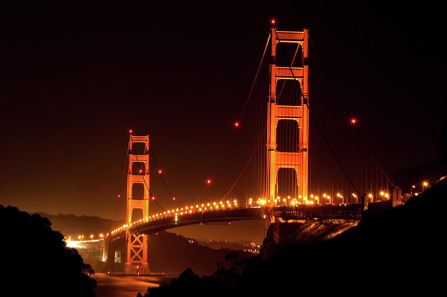 Golden Gate Bridge At Night Photograph by Imaginegolf