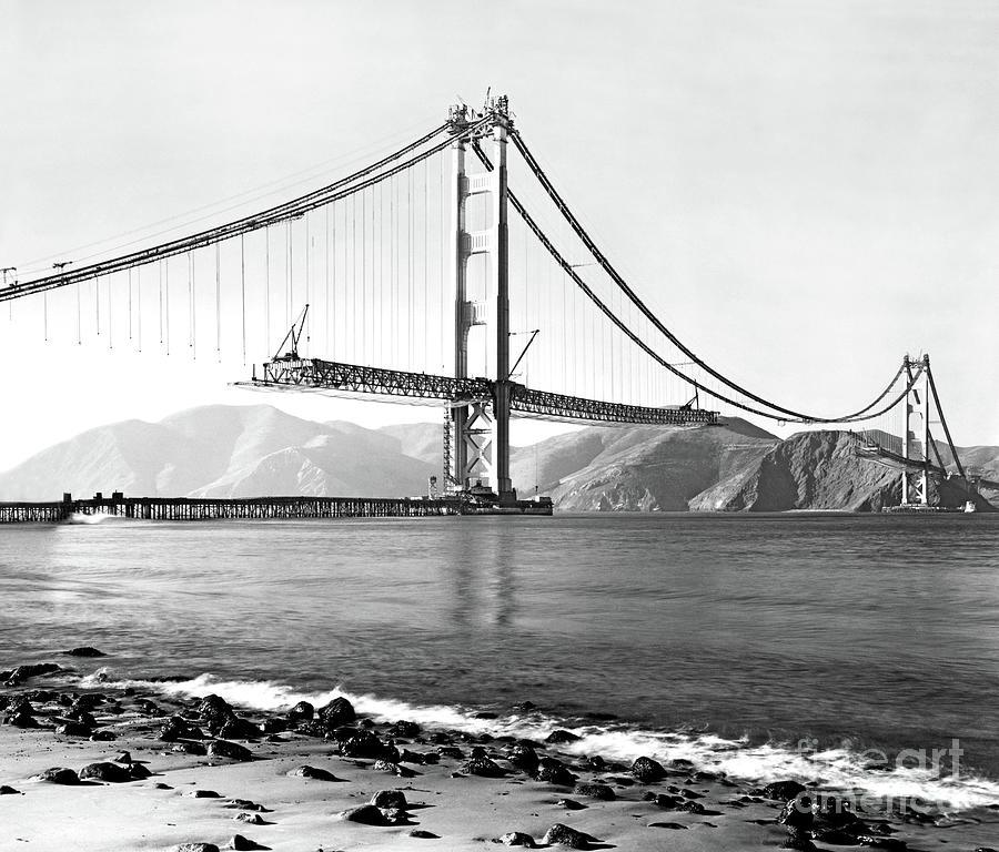 Golden Gate Bridge Construction, circa January 5, 1933. by Doc Braham
