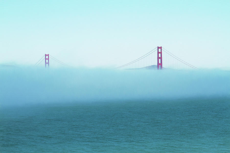Golden Gate Bridge in Fog Bank by Bonnie Follett