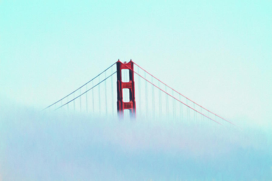 Golden Gate Rising Above The Fog by Bonnie Follett