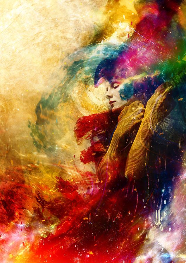 Surreal Digital Art - Golden Gloom by Mario Sanchez Nevado