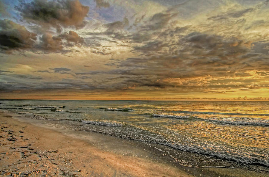 Beach Photograph - Golden Glow 2 - Clouds by HH Photography of Florida