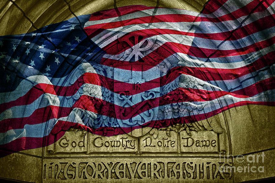 Golden God Country Notre Dame American Flag by John Stephens