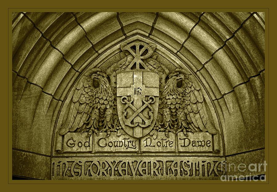 Golden God Country Notre Dame Detail On Basilica Memorial Door Header by John Stephens