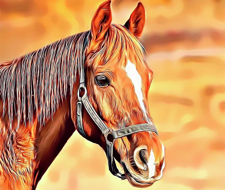 Horse Digital Art - Golden Horse by Russell Carter