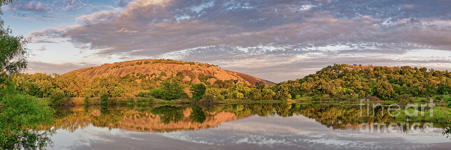 Enchanted Rock Photograph - Golden Hour Contemplation At Moss Lake - Enchanted Rock Fredericksburg Texas Hill Country by Silvio Ligutti