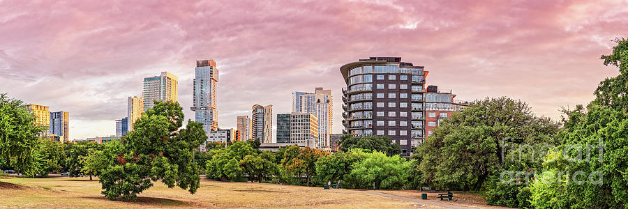 Golden Hour Panorama of Downtown Austin Skyline from Duncan Park - Texas Hill Country by Silvio Ligutti