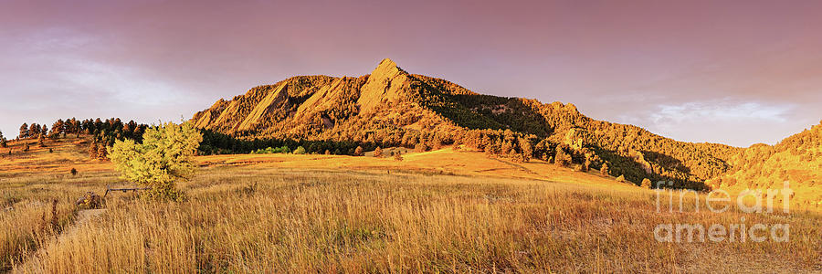 Golden Hour Panorama of Flatirons from Chautauqua Park - Boulder Colorado Rocky Mountains by Silvio Ligutti