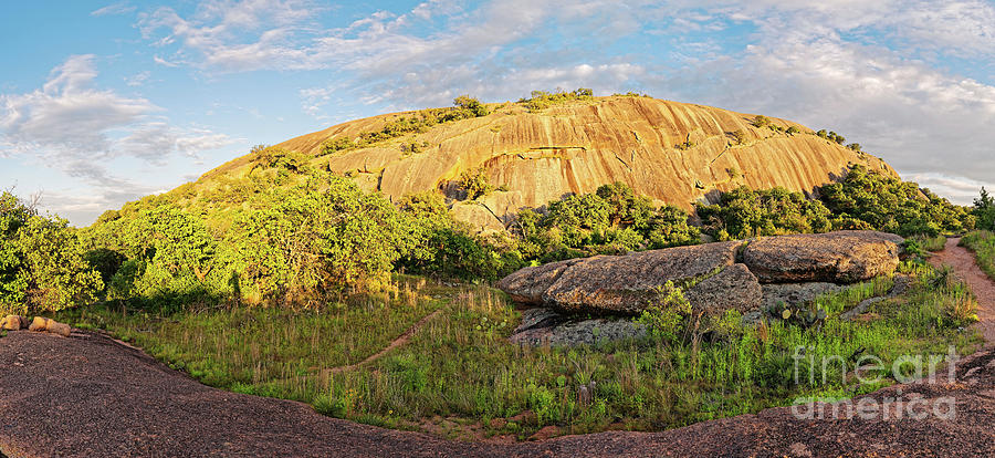 Golden Hour Panorama Of North Side Of Enchanted Rock From The Loop Trail - Fredericksburg Texas Photograph