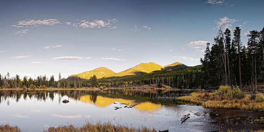 Golden Hour Panorama of Sprague Lake in Rocky Mountains National Park - Estes Park Colorado by Silvio Ligutti