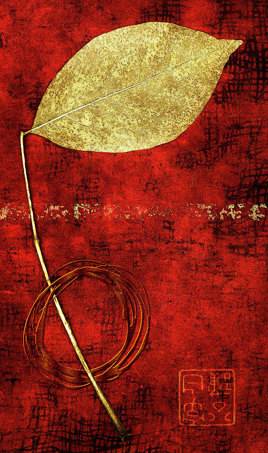 Leaf Mixed Media - Golden Leaf On Bright Red Paper by Carol Leigh