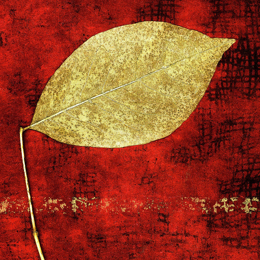 Golden Leaf on Bright Red Paper Square by Carol Leigh