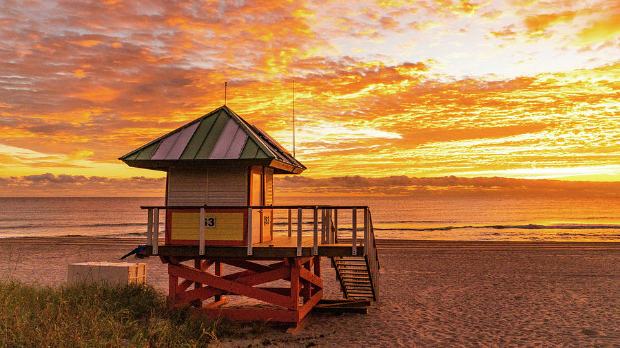 Golden Lifeguard Station Sunrise Delray Beach Florida by Lawrence S Richardson Jr
