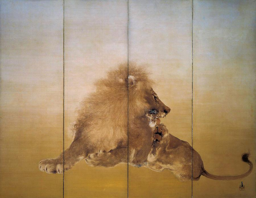 Lion Painting - Golden Lion - Original Color Edition by Takeuchi Seiho