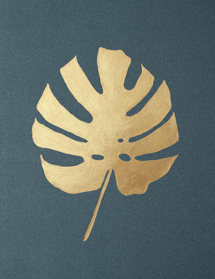 Golden Monstera Leaf on Background by Masha Batkova