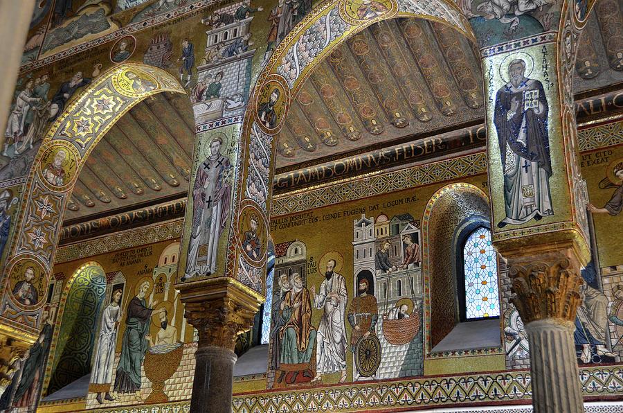 Golden mosaic in La Martorana church in Palermo by RicardMN Photography