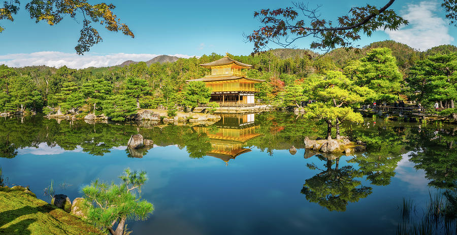 Golden Pavilion Panorama in Kyoto, Japan. by Daniela Constantinescu