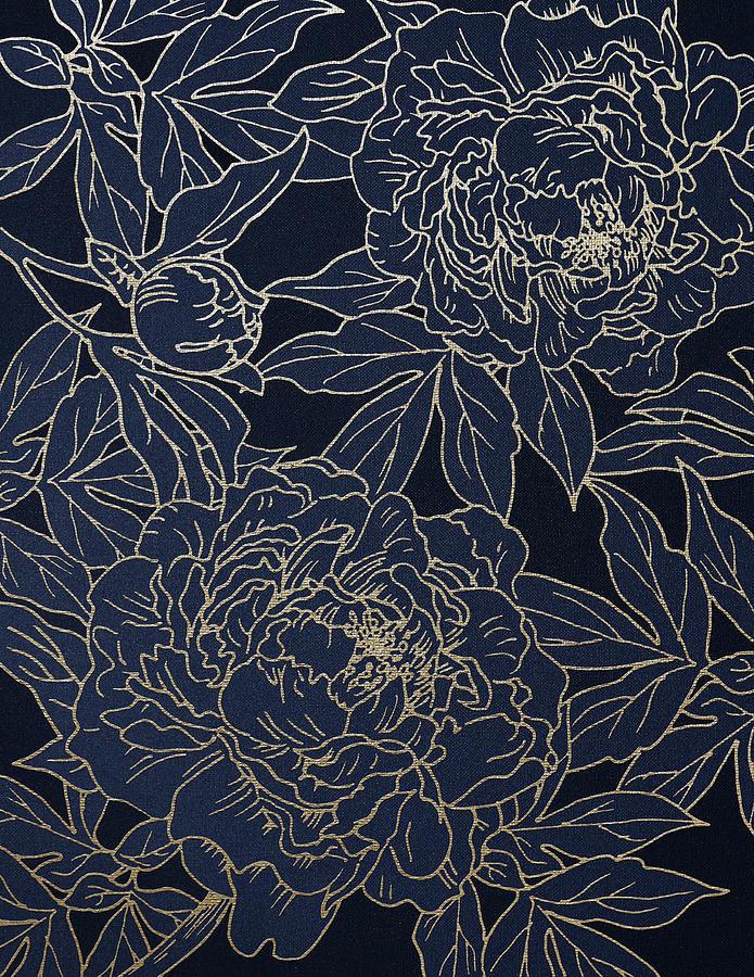 Golden Peony on Blue by Masha Batkova