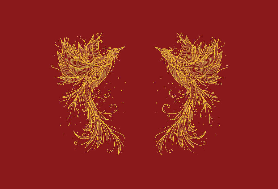 Golden Mixed Media - Golden Phoenix Twins On Red by ZeichenbloQ