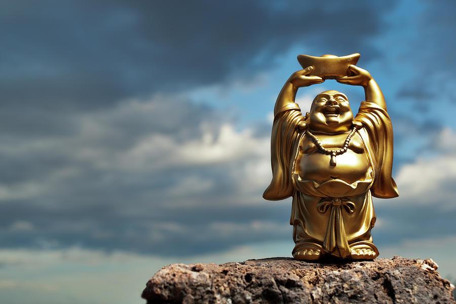 Golden Prosperity Buddha Photograph by Wesvandinter