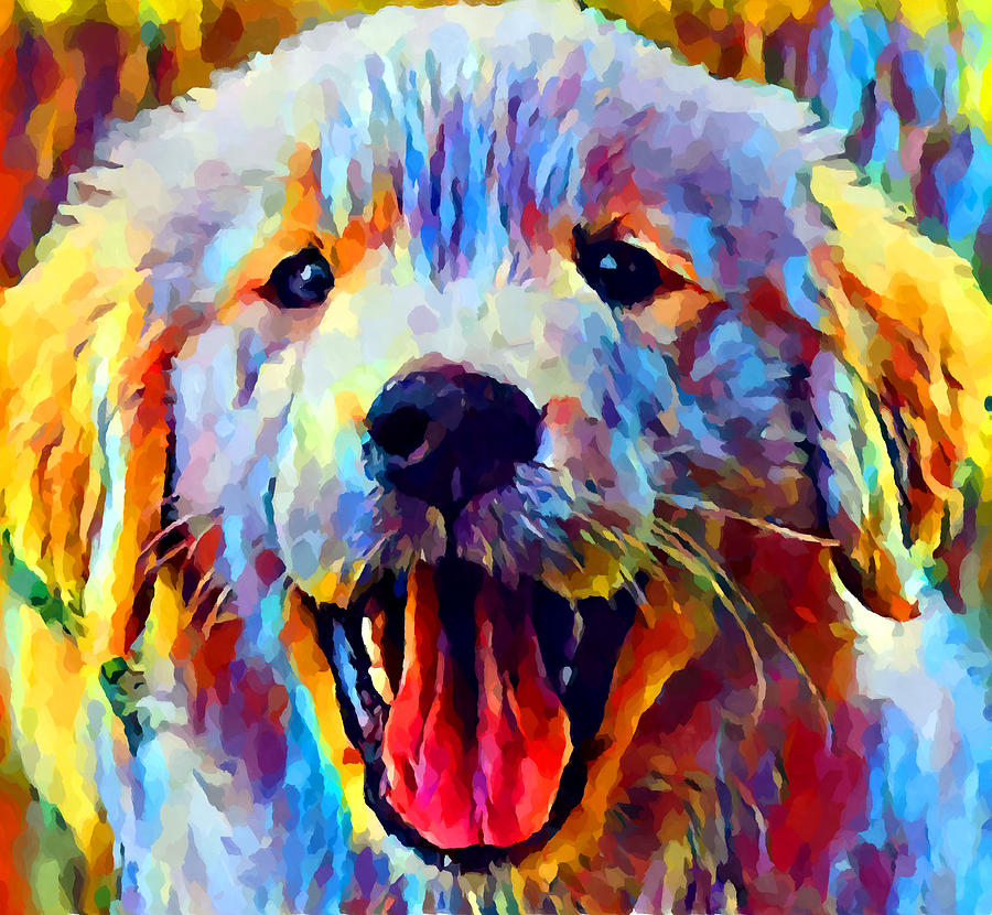 Puppy Painting - Golden Retriever Puppy 2 by Chris Butler