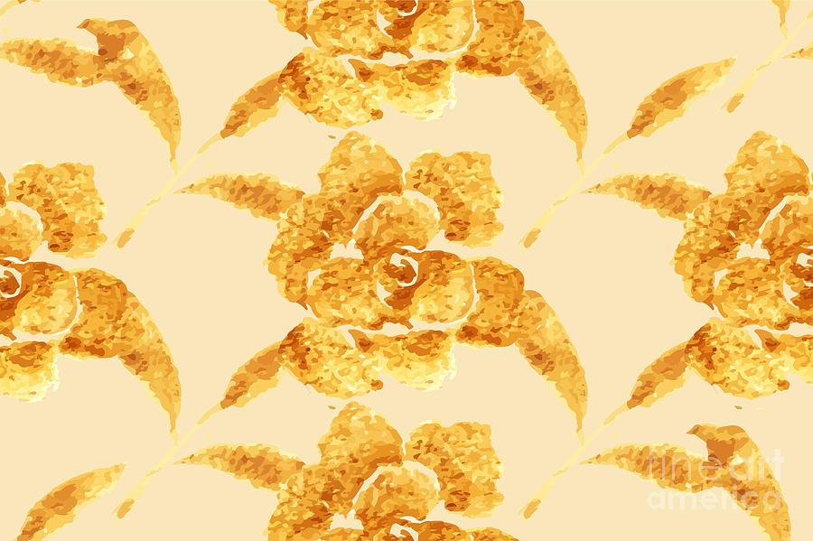 Love Digital Art - Golden Rose, Hand-drawn Flower, Floral by Rasveta