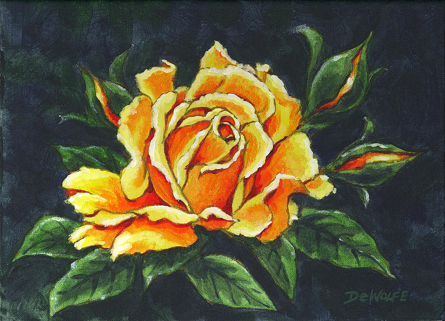 Golden Rose Sketch by Richard De Wolfe
