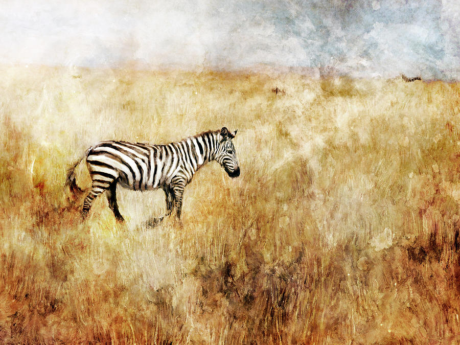 Wildlife Painting - Golden Savanna Zebra by Katrina Jones