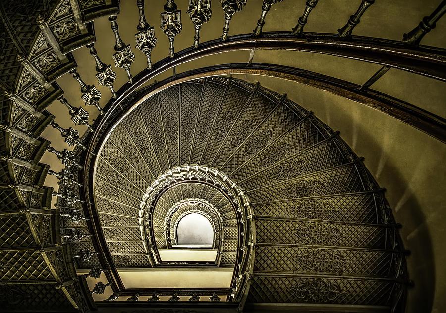 Architecture Photograph - Golden Stairway by Jaroslaw Blaminsky