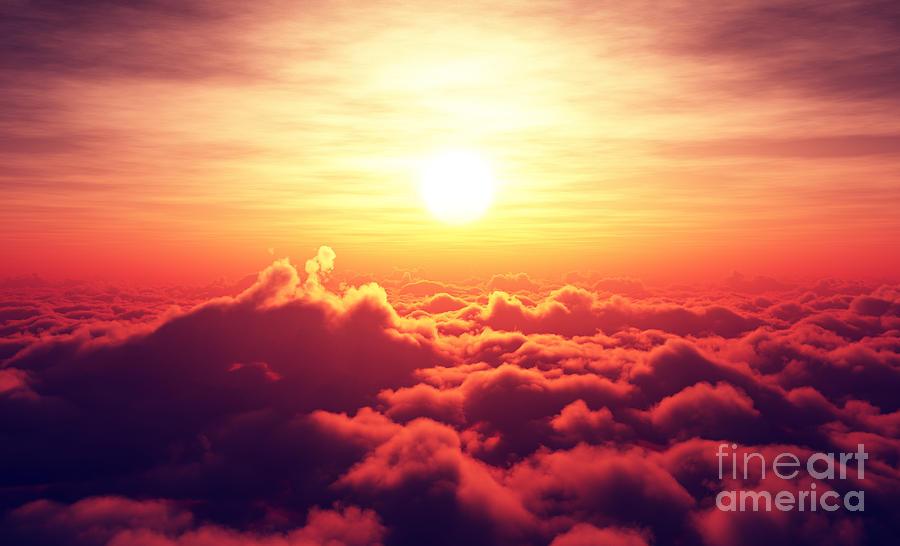 Sunrise Digital Art - Golden Sunrise Above Puffy Clouds by Johan Swanepoel