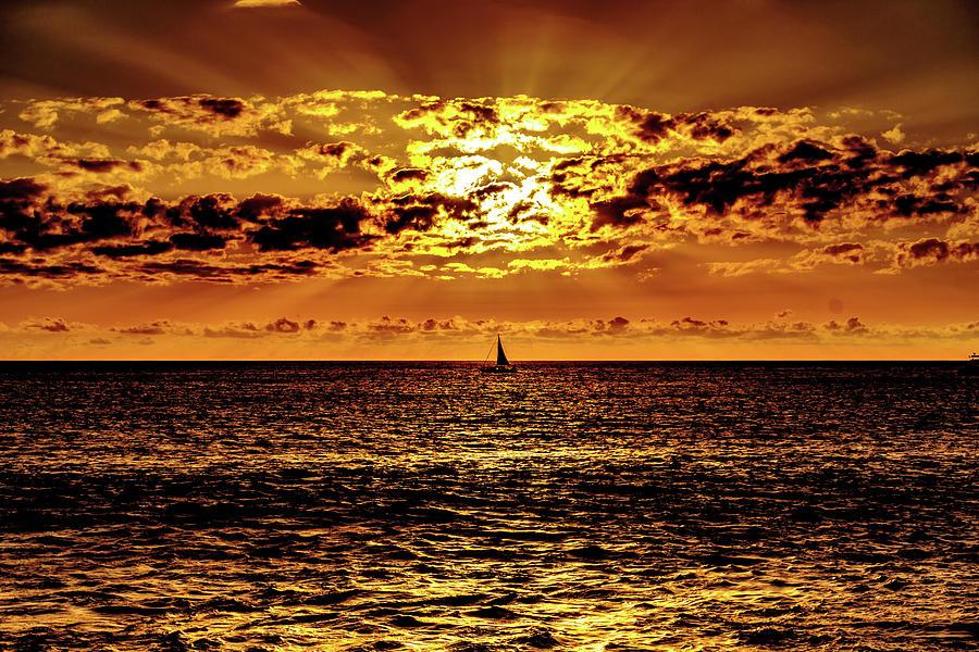 Golden Sunset Sail by John Bauer