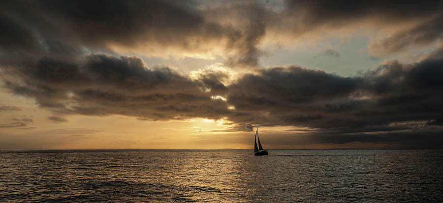 Golden Sunset with Yacht by Max Blinkhorn