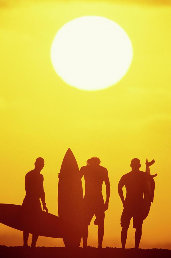 Big Sun Photograph - Golden Surf Silhouettes by Sean Davey