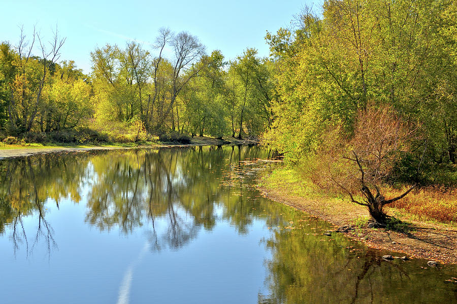 Autumn Photograph - Golden Trees On Concord River by Luke Moore