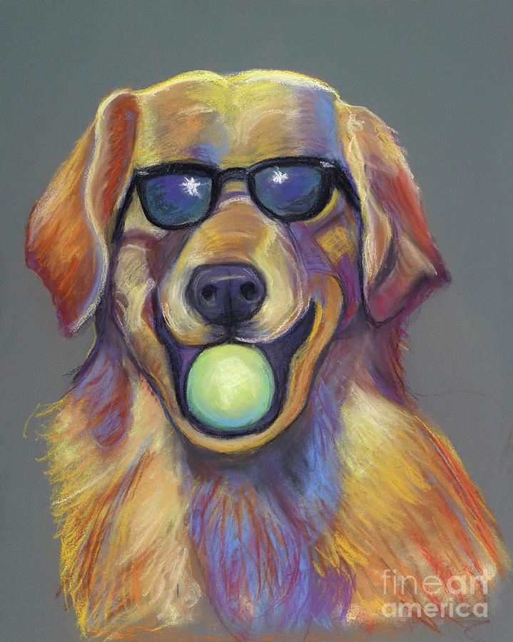 Animals Pastel - Golden With Ball by Ann Hoff