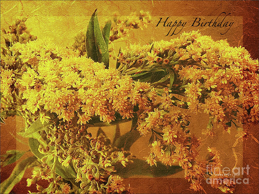 Goldenrod Happy Birthday Greeting Photograph