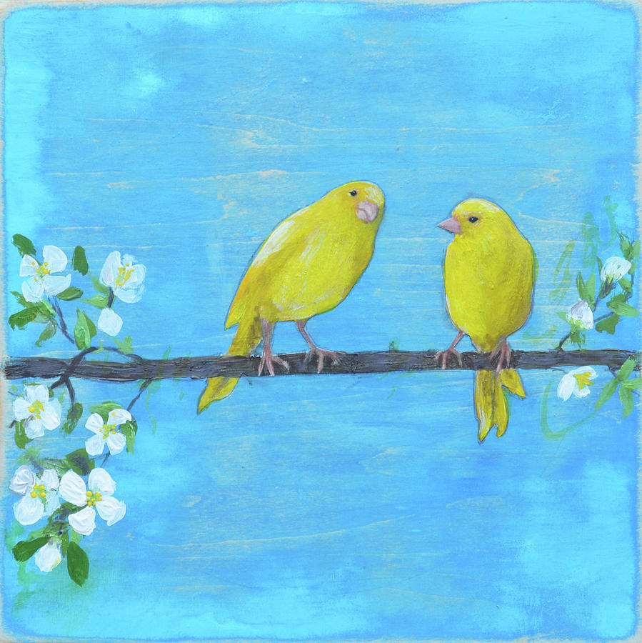 Nature Mixed Media - Goldfinch Pair by Donna Stubbs