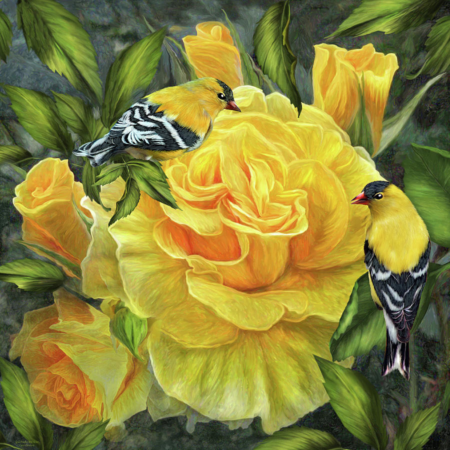 Goldfinches On Gold Roses by Carol Cavalaris