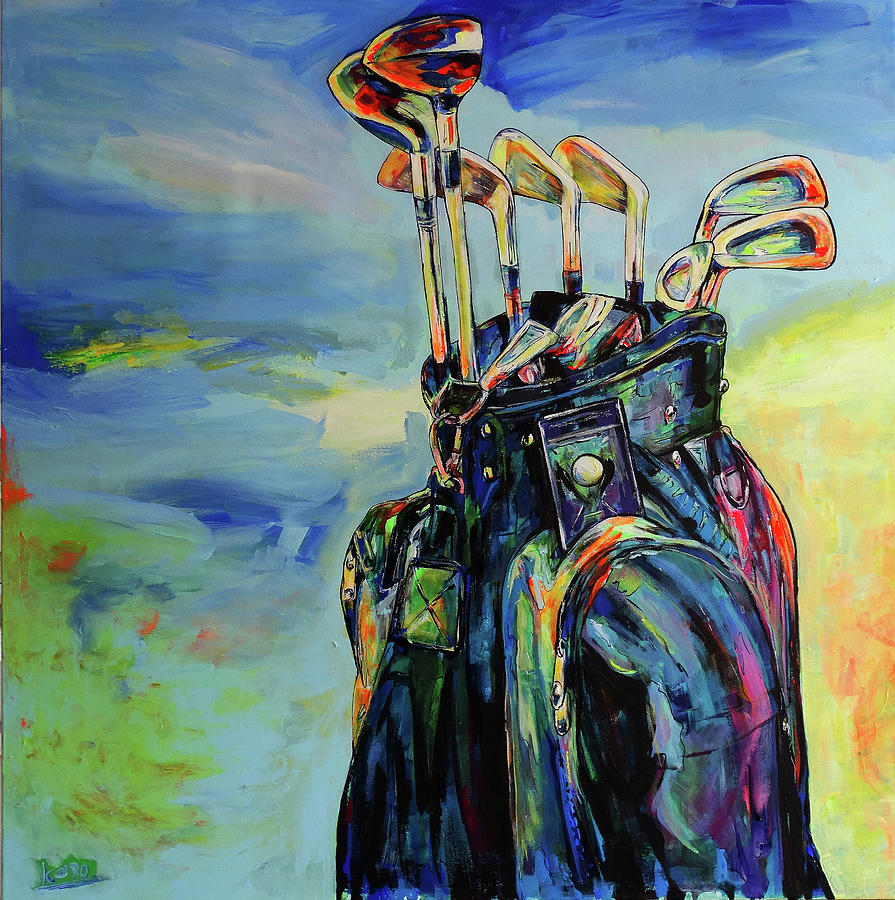 Golf Painting - Golf Bag And Clubs by Koro Arandia