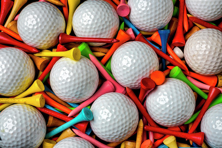 Golf Balls And Colorful Tees by Garry Gay