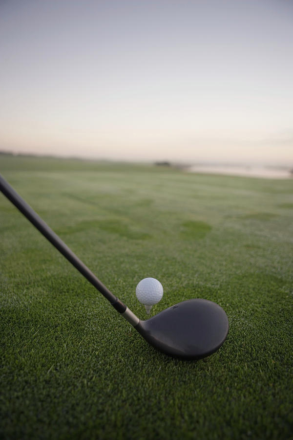 Golf Club And Ball On Dewy Grass Photograph by Anthony Strack