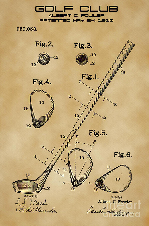 Golf Club Patent Drawing from 1910 on Vintage background by David Millenheft
